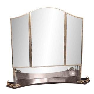 1930s Art Deco Medicine Cabinet With Triple Mirror & Black Marble Shelf For Sale