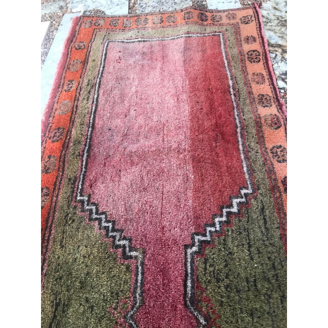 """Textile Hand Made Vintage Small Turkish Runner- 2'1"""" X 4'5"""" For Sale - Image 7 of 10"""