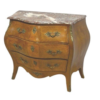 Swedish French Style Bombe Inlaid Commode For Sale