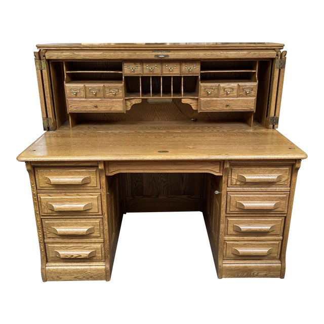 Mid 20th Century Jefferson Oak Roll Top Desk For Sale