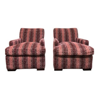 A. Rudin Custom Stripe Upholstered Armchairs - a Pair For Sale