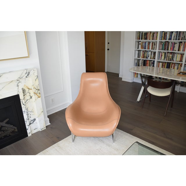 B&b Italia Leather Mart Chair For Sale In New York - Image 6 of 12