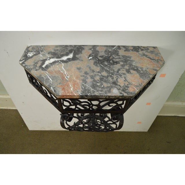 Art Deco Oscar Bach Style Iron Marble Top Wall Console w/ Mirror For Sale - Image 4 of 10