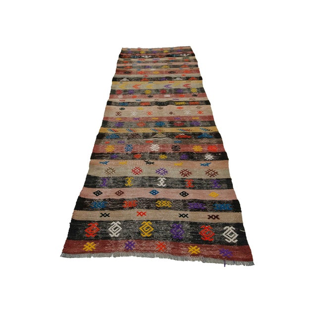 Vintage handwoven kilim rug from Denizli region of Turkey. Approximately 50-60 years old. In very good condition.