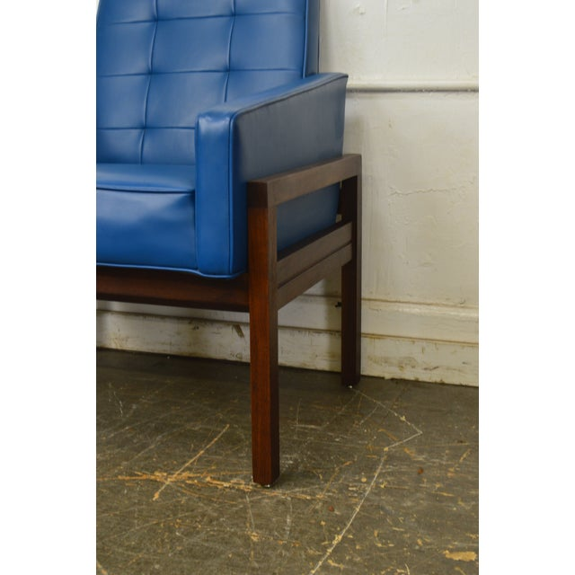 Mid Century Modern Pair of Walnut Frame Orange & Blue Lounge Chairs For Sale - Image 9 of 13