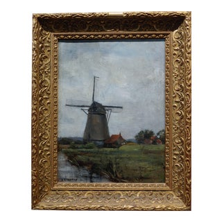 19th Century J. Kuyper Dutch Windmill Oil Painting C.1880s For Sale