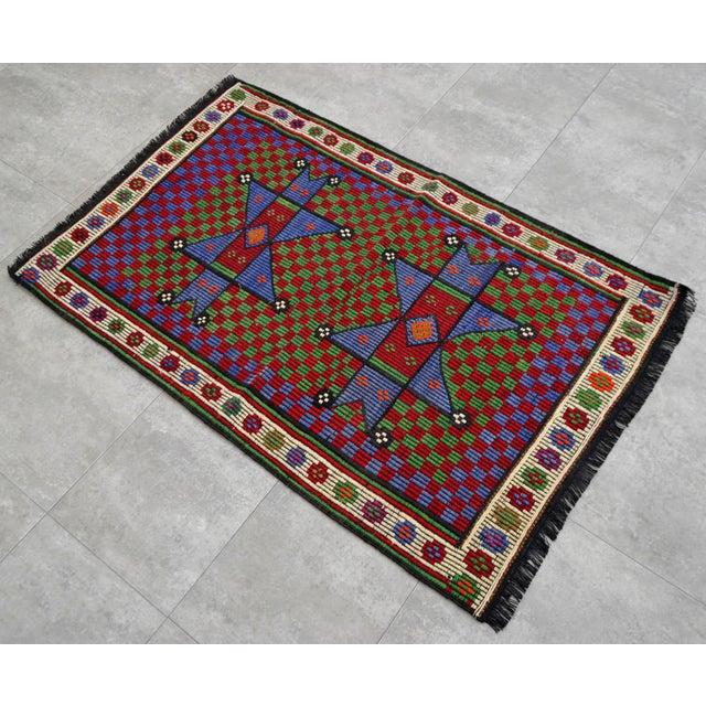 Islamic Turkish Hand Woven Wool Starry Jajim Mini Kilim Rug - 2′6″ X 3′9″ For Sale - Image 3 of 8