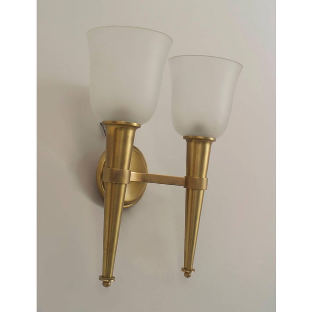 French French 1940s Brass Torch Design Wall Sconces - a Pair For Sale - Image 3 of 4