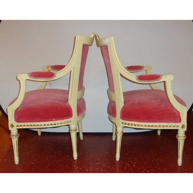 Maison Jansen Pair of Carved Fauteuils by Gustavian Side Chairs by Maison Jansen For Sale - Image 4 of 11