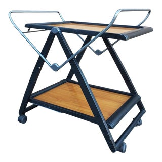 1980s Modern Italian Two-Tier Wooden Fold Up Trolley For Sale