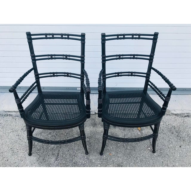 Vintage Baker Furniture Faux Bamboo Chairs - a Pair For Sale - Image 11 of 11