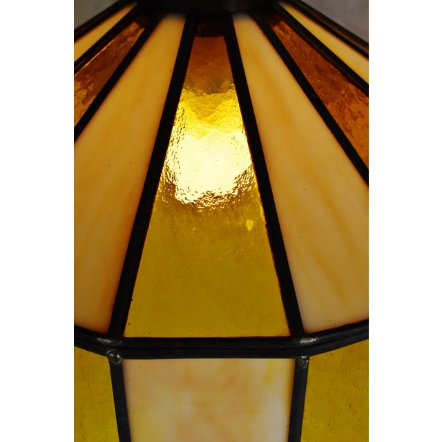 White Vintage Tiffany Style Leaded Glass Pendant Light Chandelier For Sale - Image 8 of 13