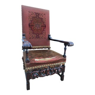 Early 20th Century Jacobean Carved Walnut Throne Chair For Sale