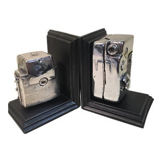 Modern Camera Bookends - a Pair For Sale
