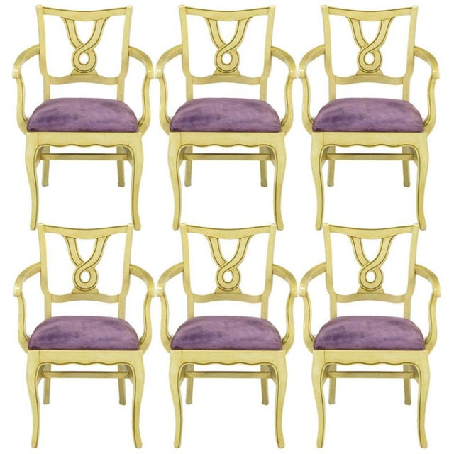 Six Ivory Glazed Regency Dining Armchairs For Sale - Image 9 of 9