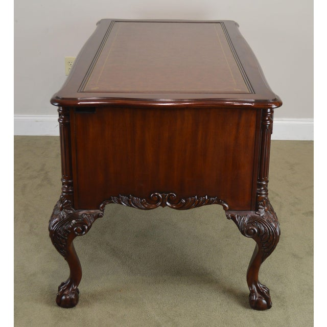 Sligh Ellis Line Mahogany Chippendale Style Claw Foot Leather Top Executive Desk (D) For Sale In Philadelphia - Image 6 of 13