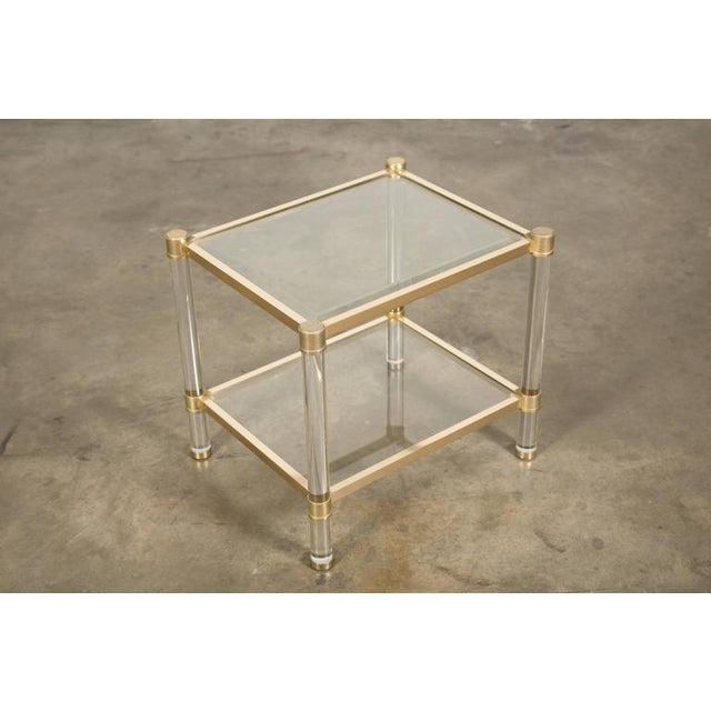 Maison Jansen French Rectangular Lucite and Brass Two Tier Side Table For Sale - Image 4 of 12