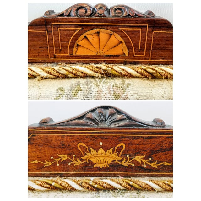English Edwardian Adam Style Marquetry Salon Settee For Sale - Image 10 of 13