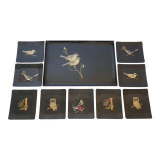 Mid-Century Modern Couroc Canape Set Sandwich Serving Tray and 9 Dishes - a Set For Sale