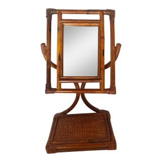 Mid 20th Century Mid-Century French Bamboo/Rattan Vanity Standing Mirror, C1950 For Sale