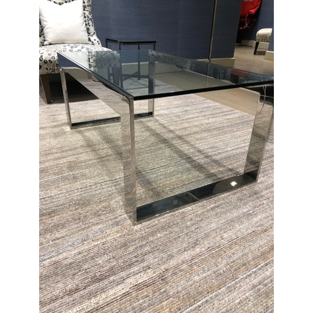 """Polished stainless steel and 1/2""""clear glass insert coffee table. New York Showroom sample. Used for display only..."""