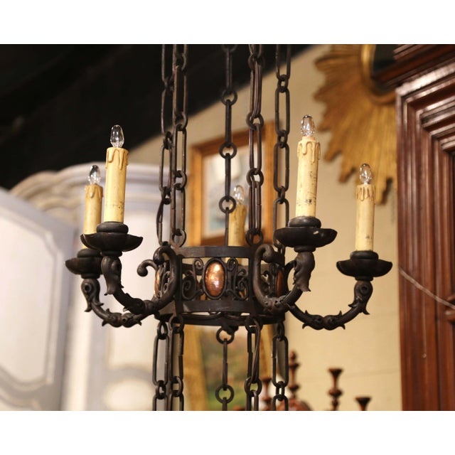 19th Century French Gothic Iron and Copper Two-Tier Fifteen Light Chandelier For Sale - Image 4 of 11