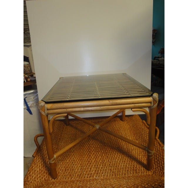 McGuire Rattan Side Table with Original Glass, 1970 - Image 3 of 4