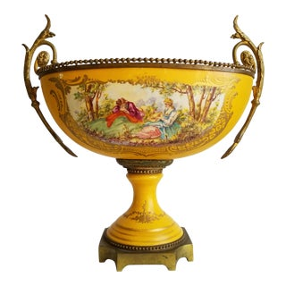 18th C. French Sevres Style Porcelain & Bronze Center Piece Compote Bowl