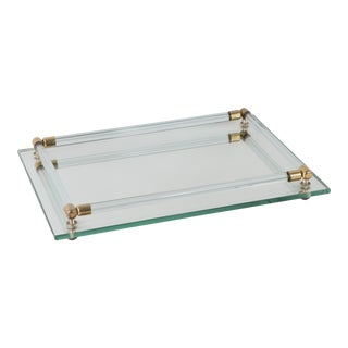 1960s Mid-Century Modern Brass Lucite Mirrored Vanity Tray Dresser Tray For Sale
