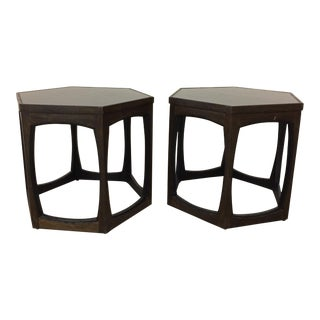 Mid Century Low Hexagon Occassional Tables - a Pair