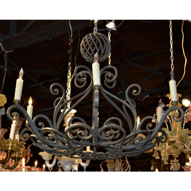 French French Patinated Iron Chandelier For Sale - Image 3 of 7