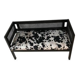 Vintage Wicker Faux Cow Hide Bench