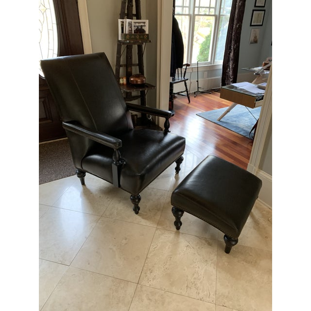 Classic Study Chair & Ottoman For Sale - Image 13 of 13