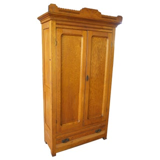 Late Victorian Antique Carved Oak Clothing Armoire Preview