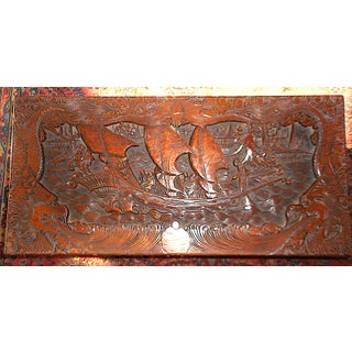 Antique Original Hand Carved Mahogany Chest/Coffee Table-Camphorwood Lined Preview