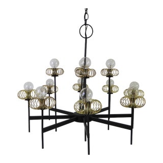 1950s Mid Century Modern Lightolier 12 Light Chandelier For Sale