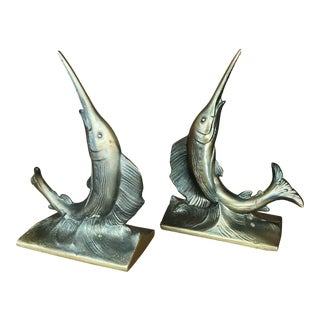 Mid Century Brass Finish Marlin Bookends - a Pair For Sale