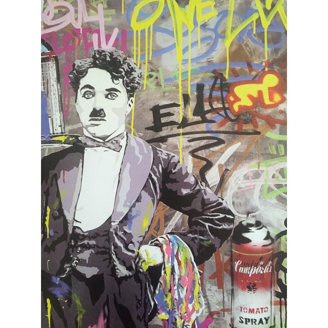 "Yellow Mr. Brainwash "" Charlie Chaplin "" Original Lithograph Print Pop Art Poster For Sale - Image 8 of 11"