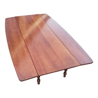 Vintage Cherry Wood Drop-Leaf Surfboard Coffee Table For Sale