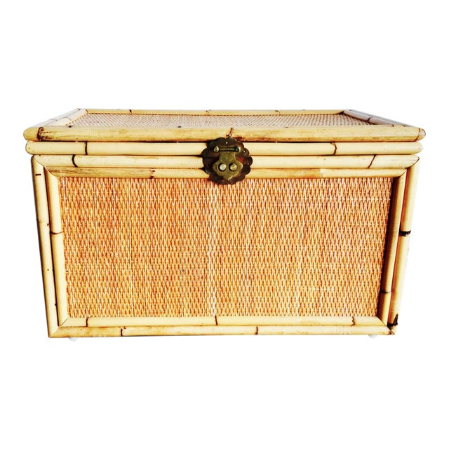 Vintage Bamboo Trunk Blanket/Toy Chest - Image 1 of 8