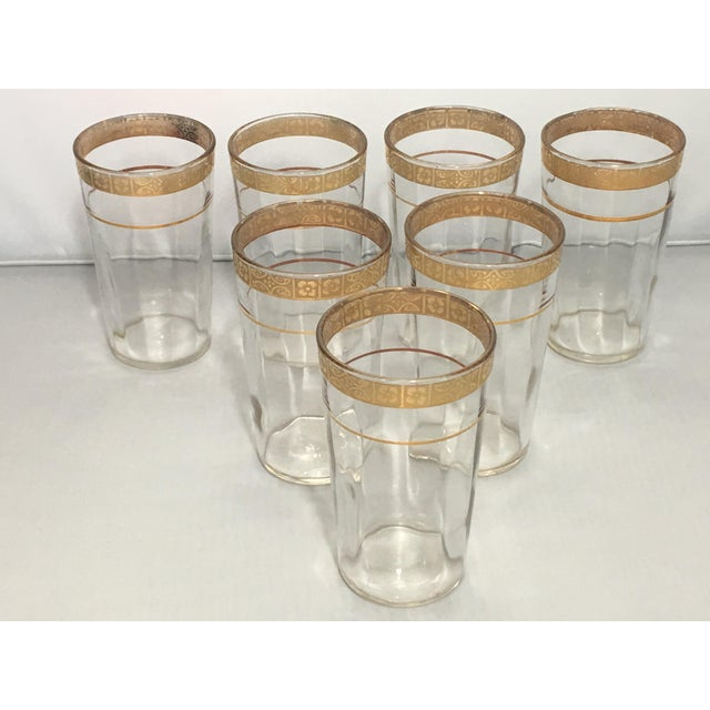 Glass Vintage Optic 18k Gold Etched Band Glassware - Set of 21 For Sale - Image 7 of 11
