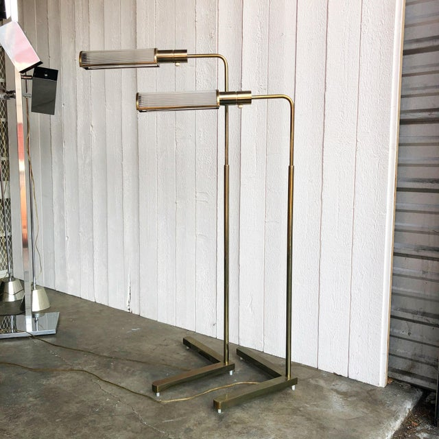 Casella Adjustable Brass Pharmacy Floor Lamps - a Pair For Sale - Image 10 of 10