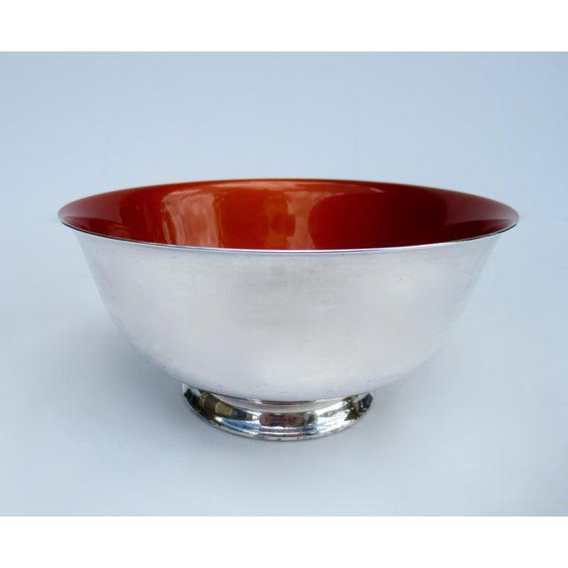Mid-Century Modern Vintage C.1960s-70s Reed & Barton Tangerine Orange Interior Enameled Paul Revere Serving Bowl For Sale - Image 3 of 12