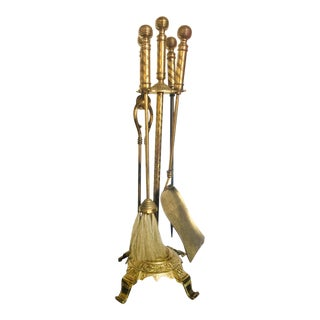 Aesthetic Movement Brass Fireplace Tool Set For Sale