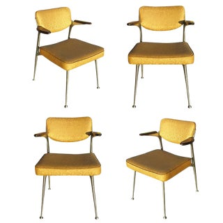 Rare Set of Four Aluminum Gazelle Armchairs by Shelby Williams For Sale