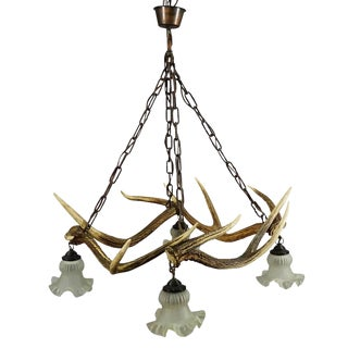 Nice Rustic Antler Lamp With Deer Antlers For Sale