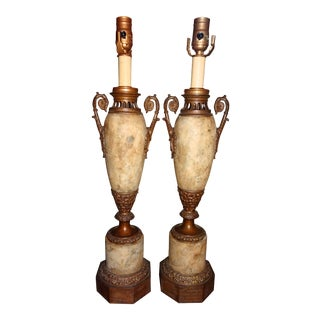 Pair of 19th Century French Tole and Brass Lamps For Sale