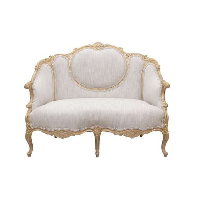 Wood Kate Spade Upholstered Louis XV Style Settee For Sale - Image 7 of 7