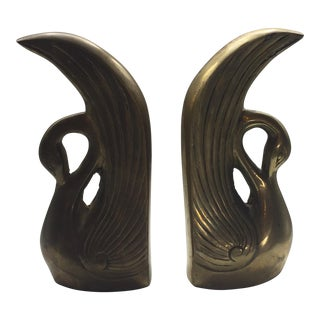 Solid Brass Art Deco Style Swan Bookends - A Pair For Sale