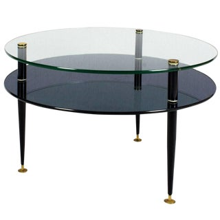 1950s Coffee Table, Steel, Glass, Mirror, Brass - Italy For Sale